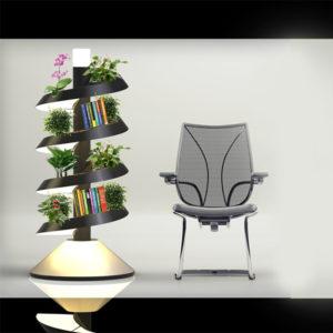 书架、落地灯、植物栽培完美组合的一款产品设计
